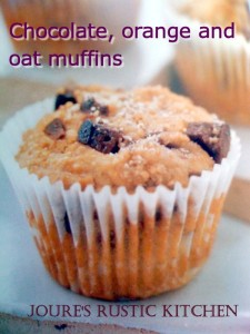 Chocolate, orange and oatmeal muffin